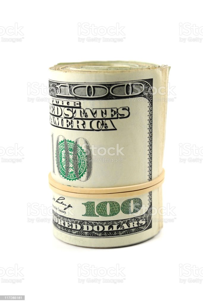 Roll of 100 dollars stock photo