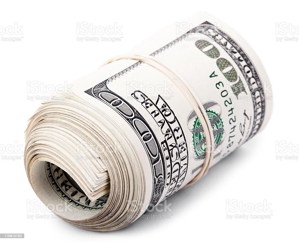 Roll of 100 US$ Bills stock photo