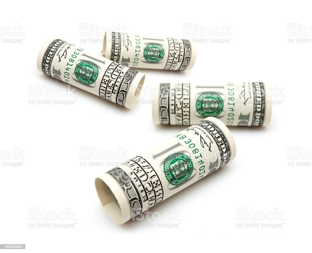 Roll of 100 U.S. dollar Bills isolated on white background royalty-free stock photo
