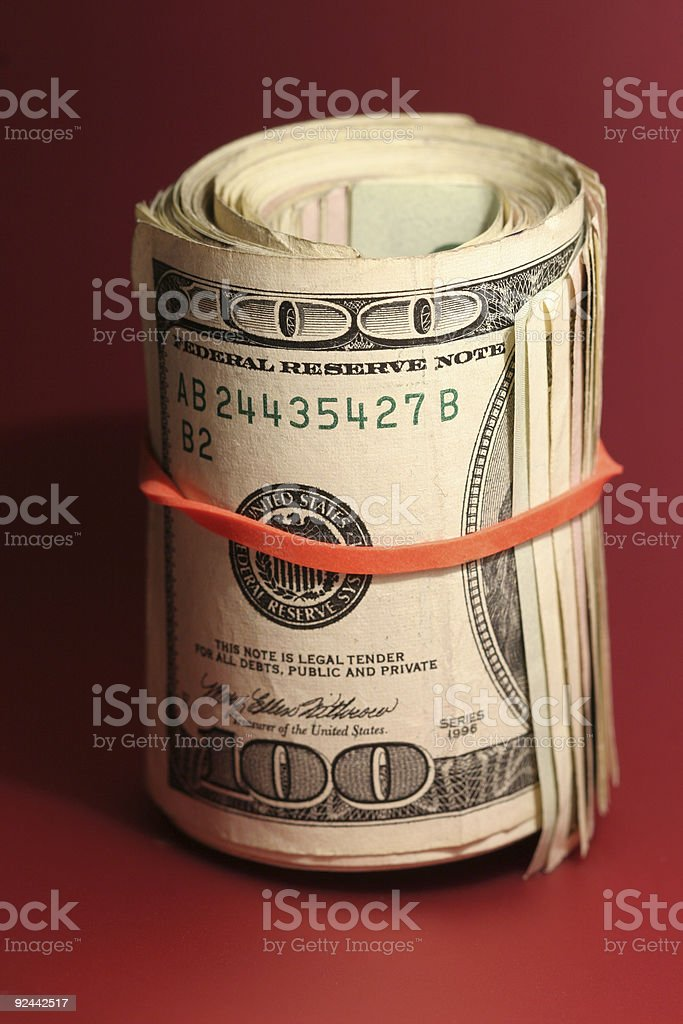 Roll of $100s royalty-free stock photo