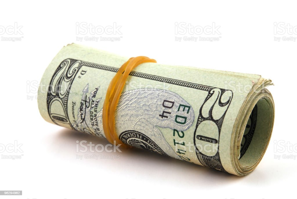 Roll of 20 dollar bills royalty-free stock photo