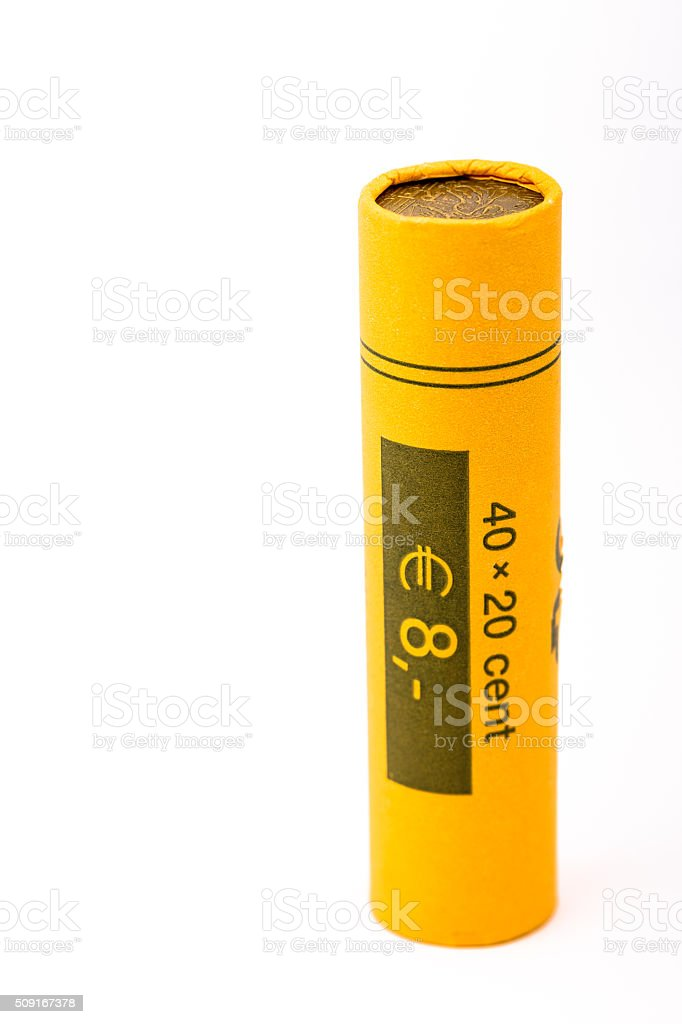 Roll of 40 20 cent euro coins (euro) stock photo