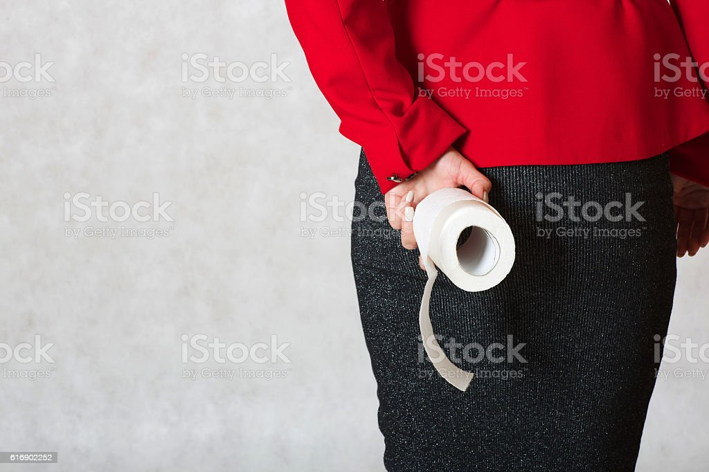 Roll of a toilet paper stock photo