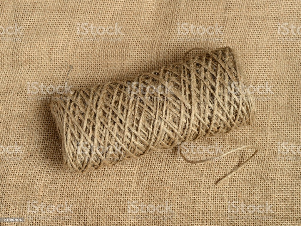 Roll of a twine jute. stock photo