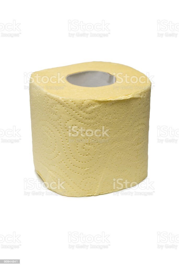 Roll of a yellow toilet paper. royalty-free stock photo