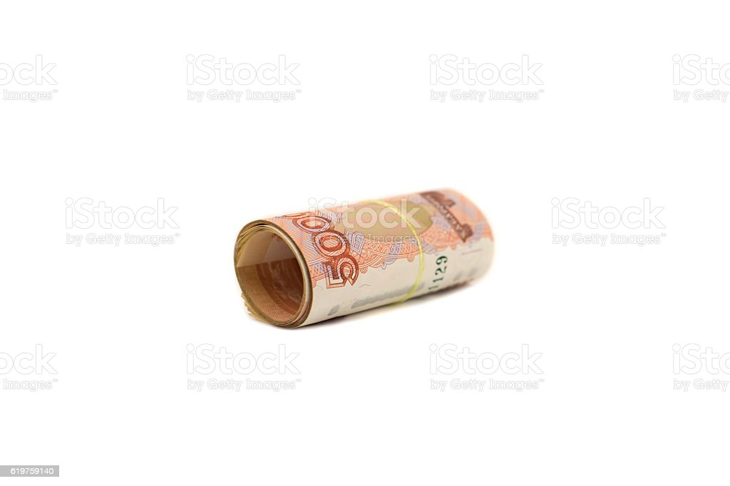 Roll of banknotes 5000 rubles stock photo