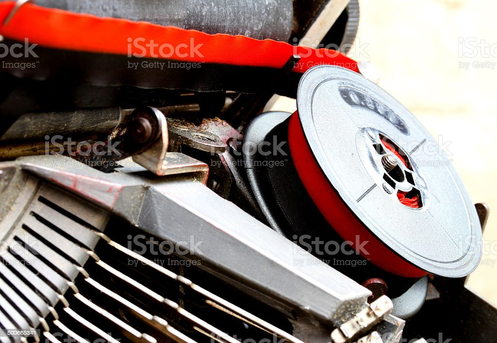 roll of black and red  ink  of a old typewriter royalty-free stock photo