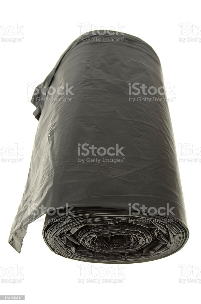 Roll Of Black Bin Bags Isolated On White royalty-free stock photo