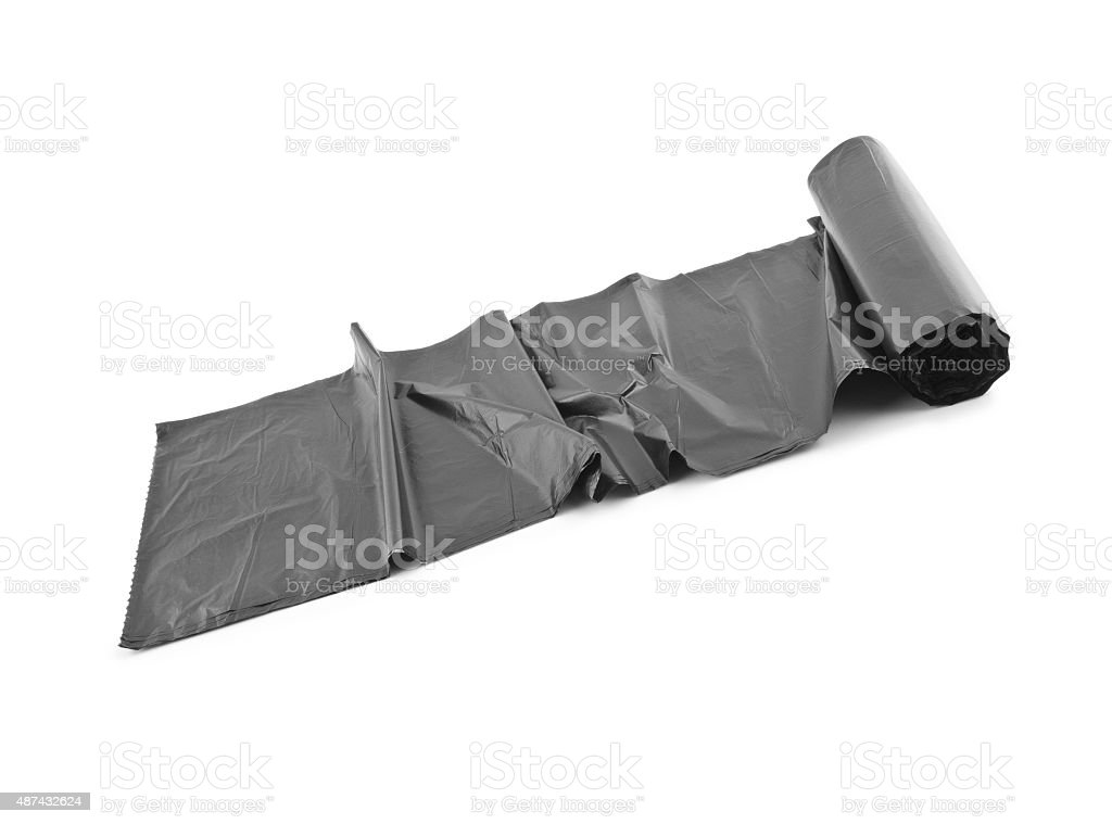roll of black dustbin liners stock photo