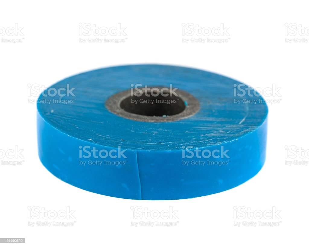 Roll of blue insulating tape stock photo