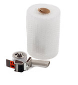 Roll of bubble wrap with tape dispenser