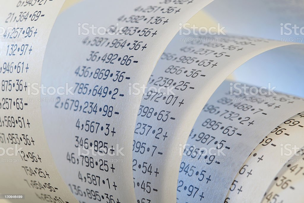 Roll of calculator printing paper tape stock photo