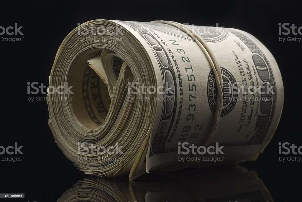 Roll of cash stock photo