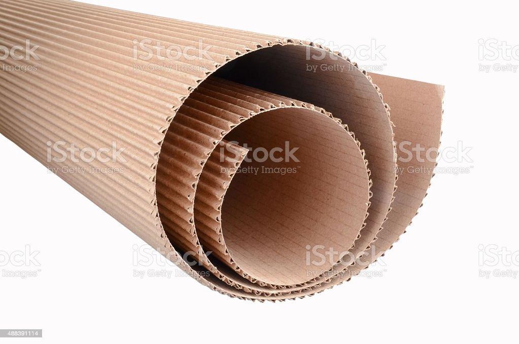 roll of corrugated cardboard stock photo