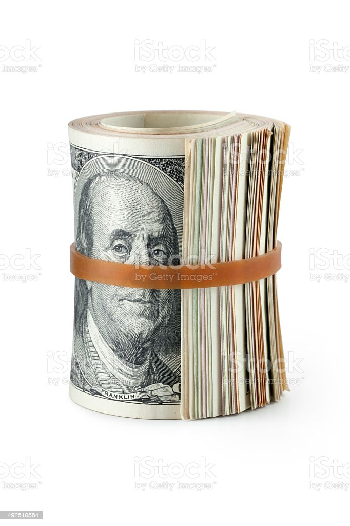 Roll of dollar banknotes stock photo