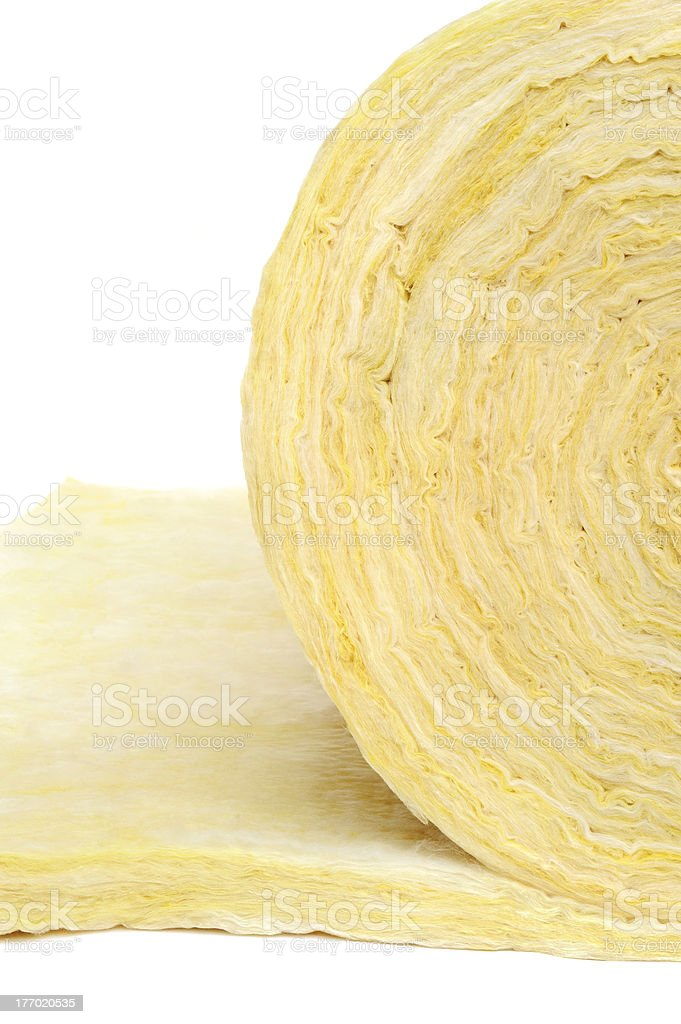 Roll of fiberglass insulation material, isolated on white background. stock photo