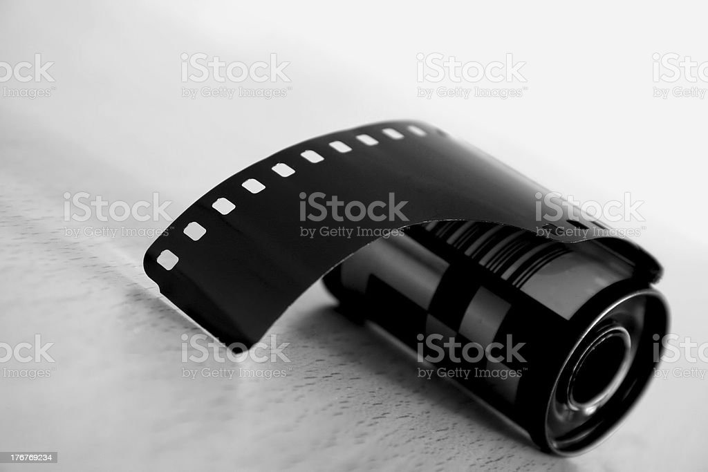 roll of film in black and white stock photo