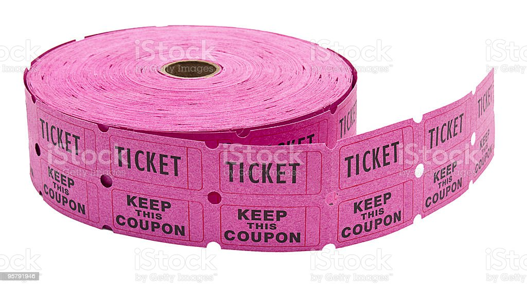Roll of generic pink raffle tickets on white stock photo