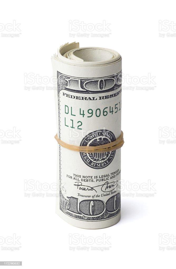 Roll of Hundred Dollar Bills stock photo