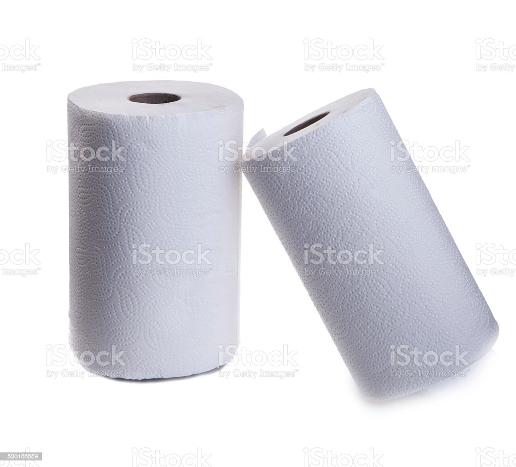Roll of kitchen paper towel stock photo