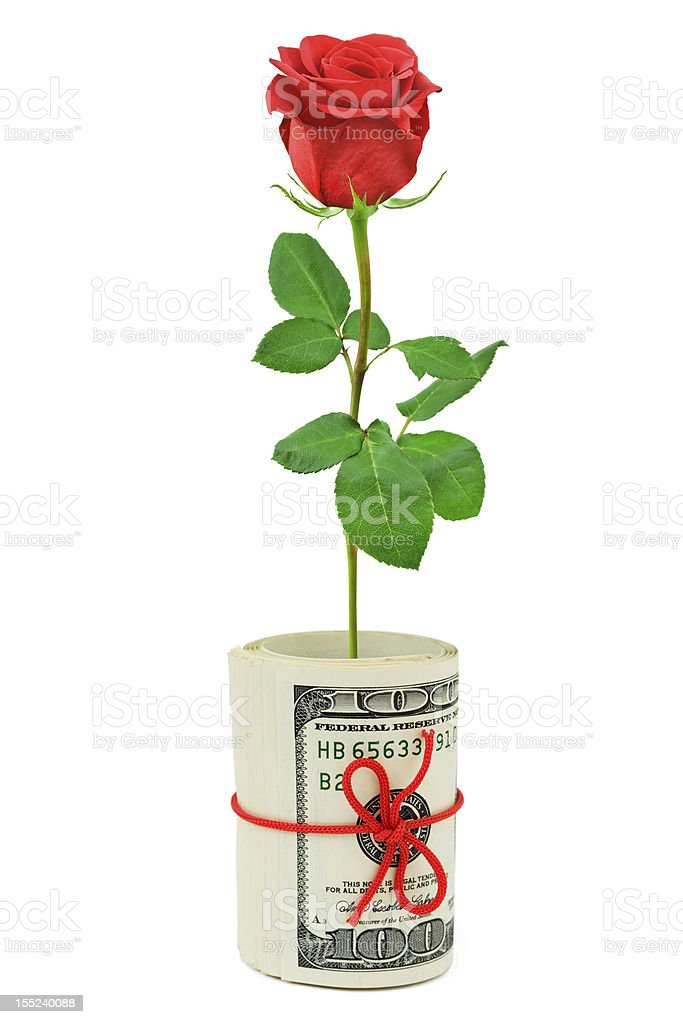 Roll of money and flower royalty-free stock photo