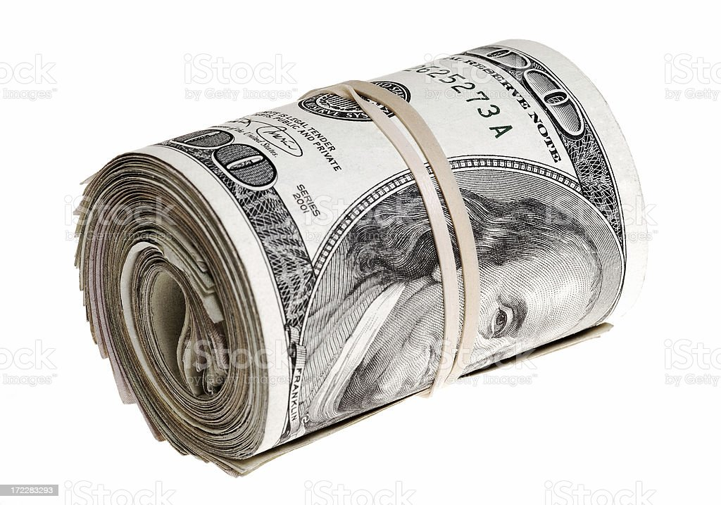 Roll of money held by Rubber band royalty-free stock photo