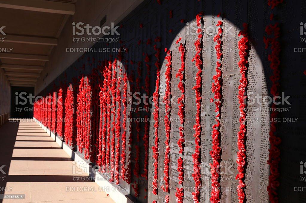 Roll of names Australian War Memorial stock photo