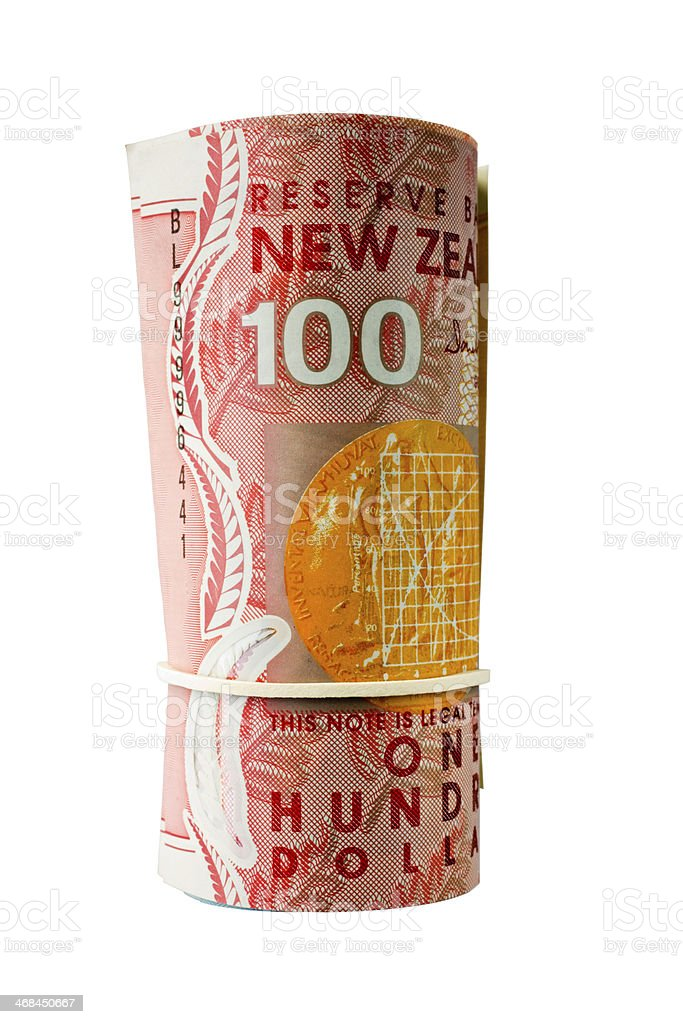 Roll of New Zealand Banknotes stock photo