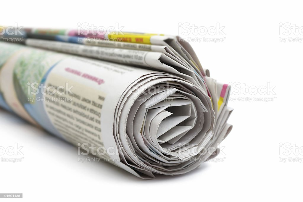 Roll of newspapers royalty-free stock photo
