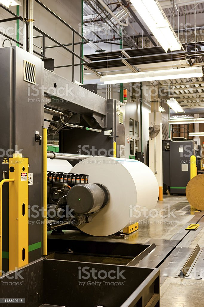 Roll of paper in the printing plant stock photo