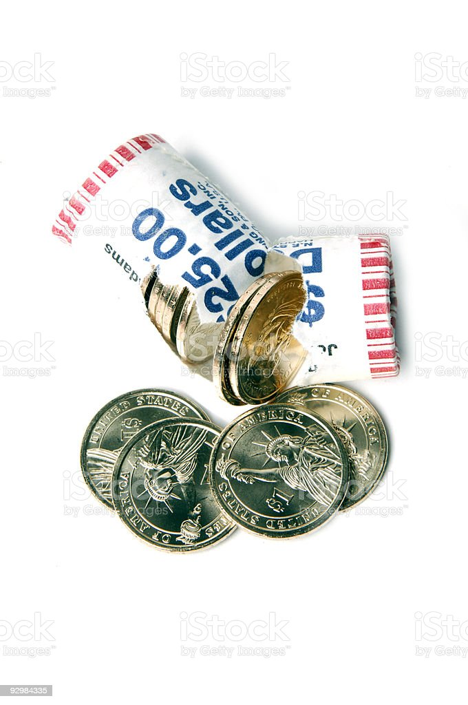 Roll of Presidential dollars stock photo