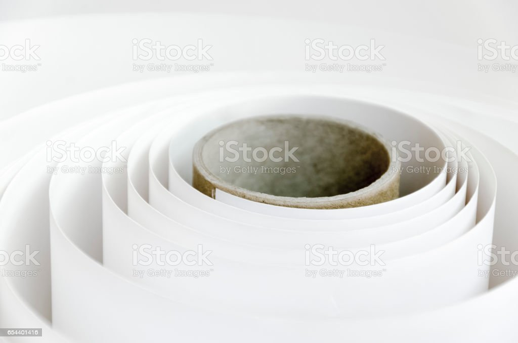 Roll of printing paper background stock photo