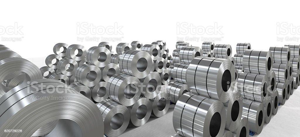 roll of steel sheet in factory stock photo
