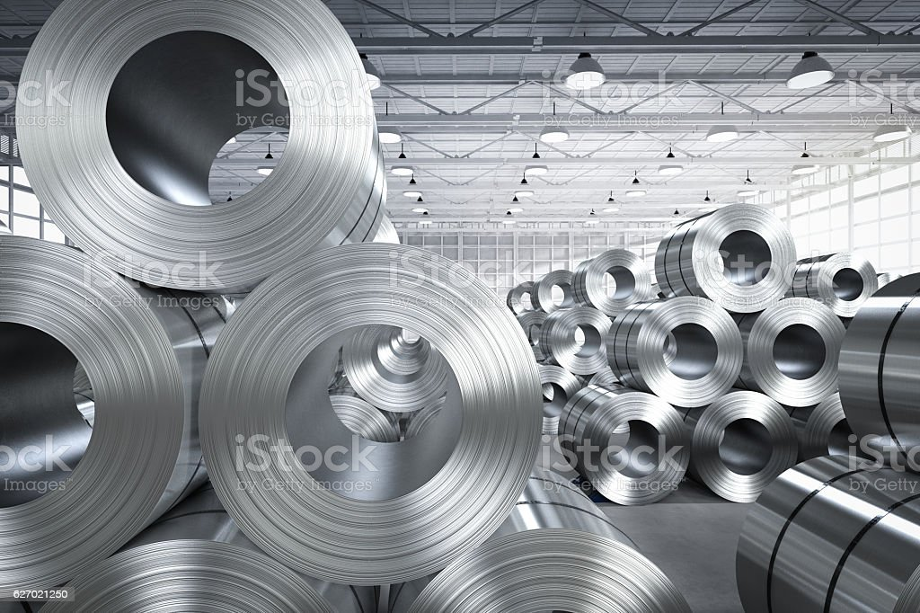 roll of steel sheet in factory stock photo