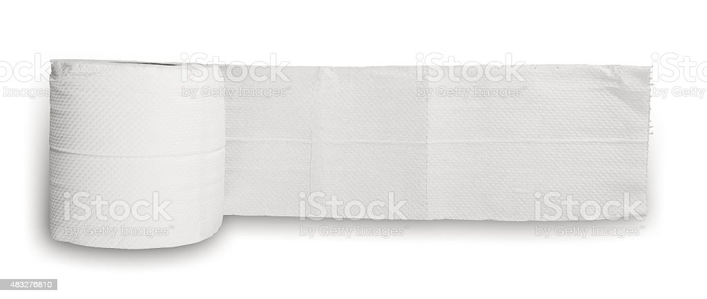 Roll of Toilet Paper Isolated on White Background stock photo