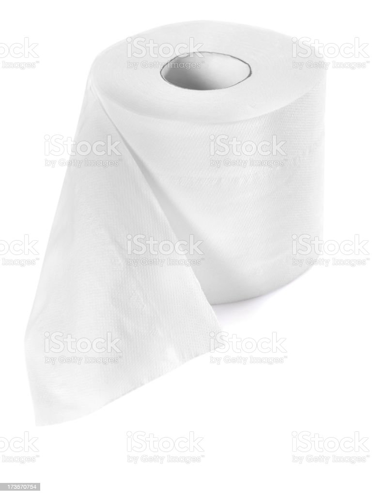 Roll of toilet paper stock photo