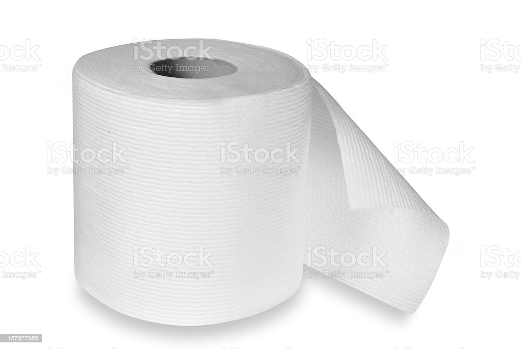 roll of toilet paper with clipping path royalty-free stock photo
