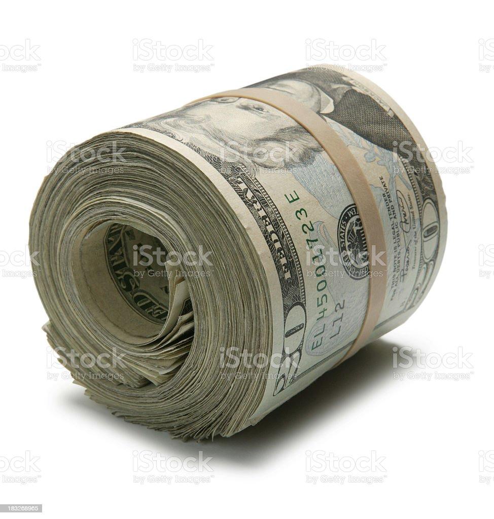 Roll of Twenty Dollar Bills stock photo