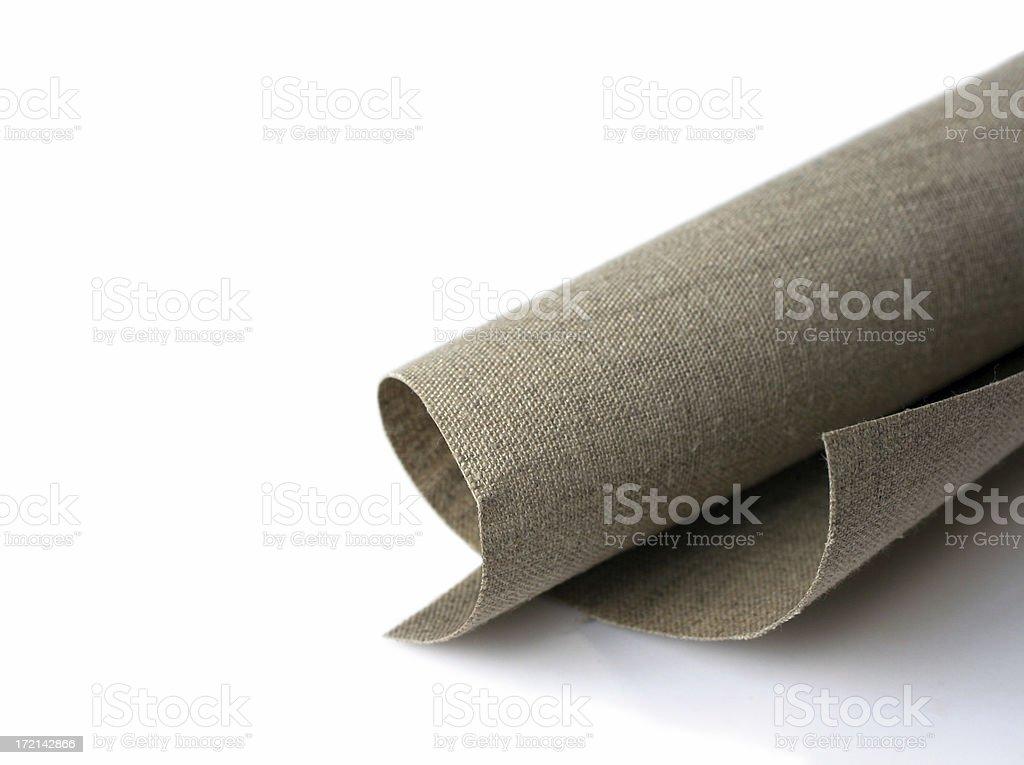 Roll of unprimed linen canvas stock photo