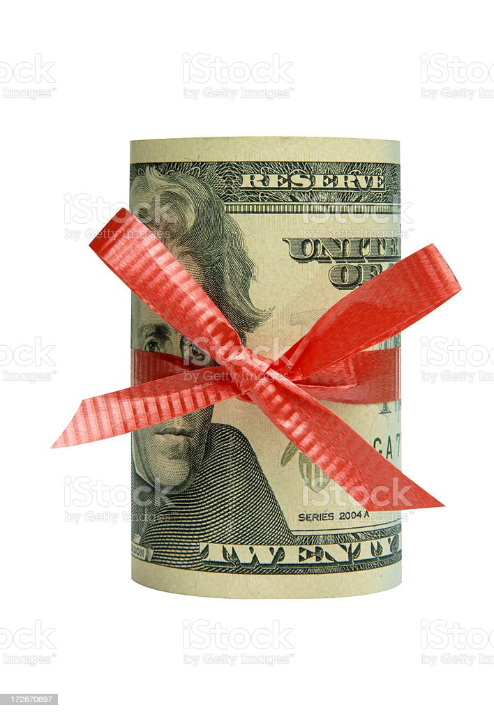Roll of US dollars stock photo