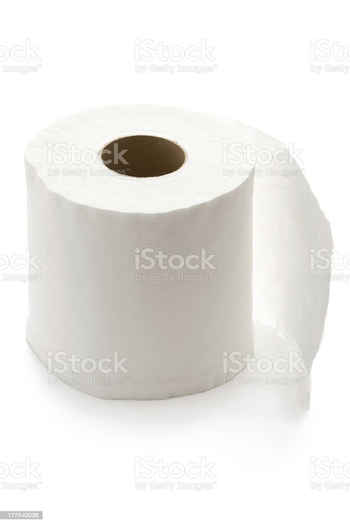 roll of white toilet paper isolated royalty-free stock photo