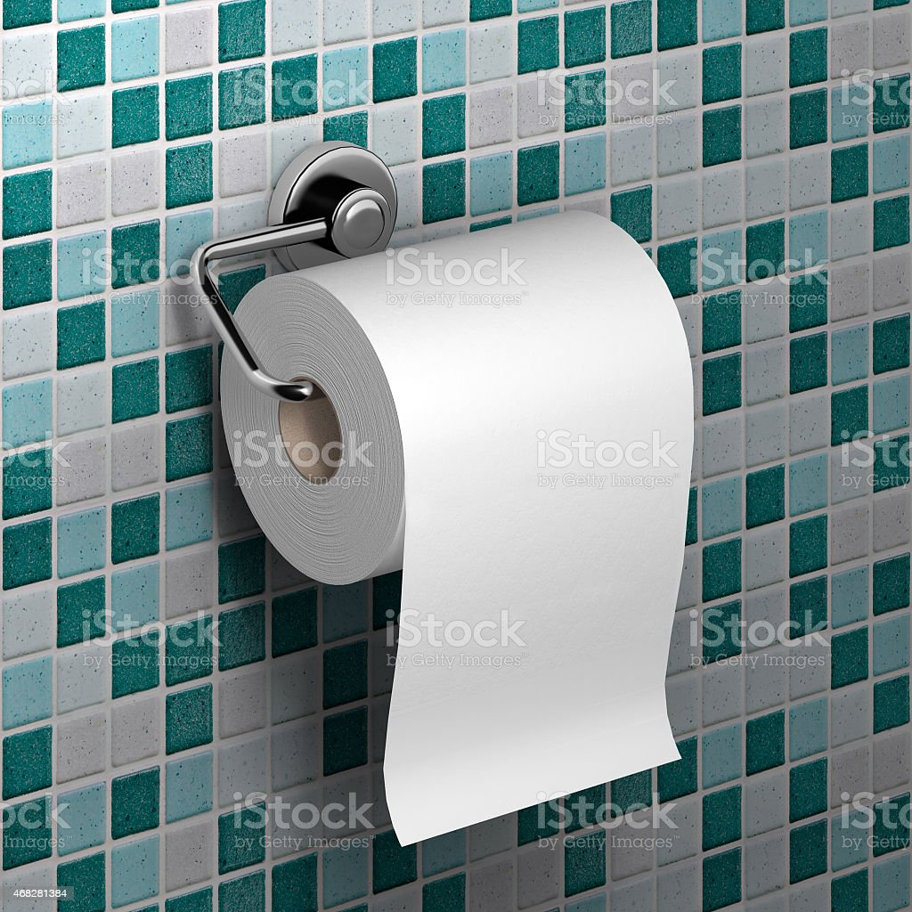 roll of white toilet paper stock photo