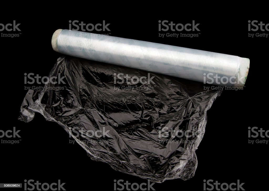 Roll of white wrapping plastic stretch film stock photo