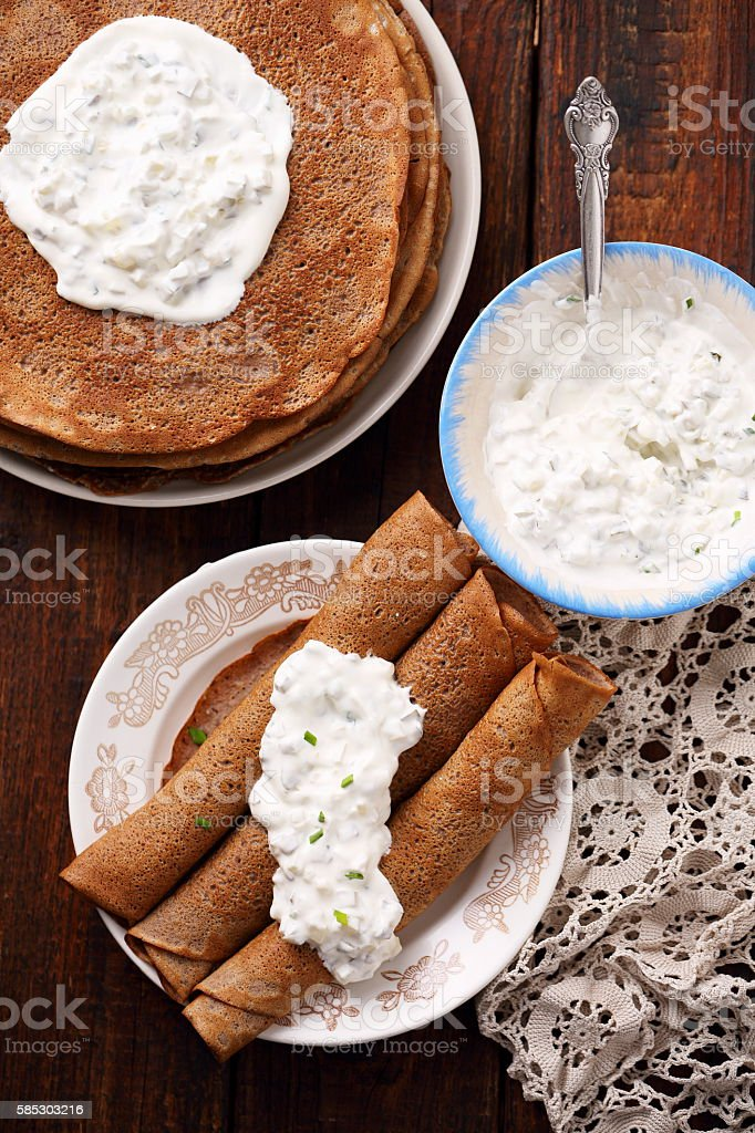 roll Pancakes, top view stock photo