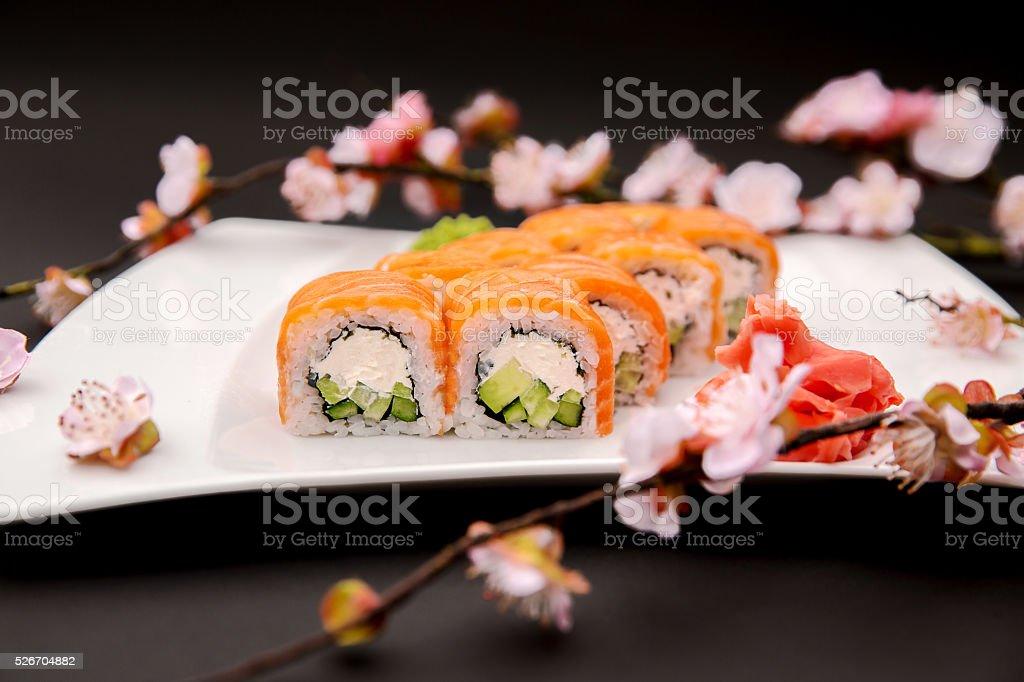 Roll Philadelphia made of Fresh Salmon, Cream Cheese and Avocado stock photo