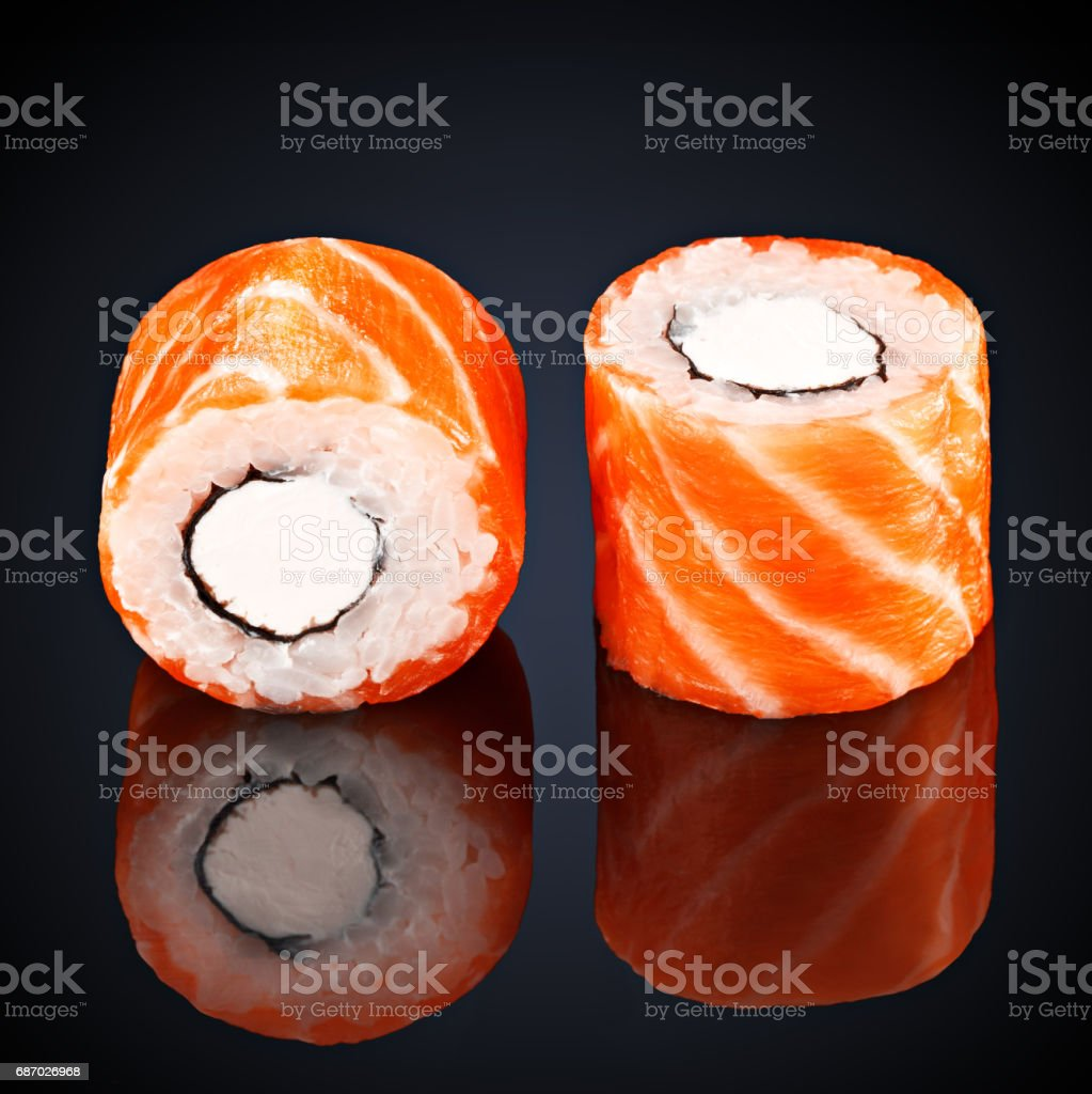 roll philadelphia with salmon and cream cheese stock photo