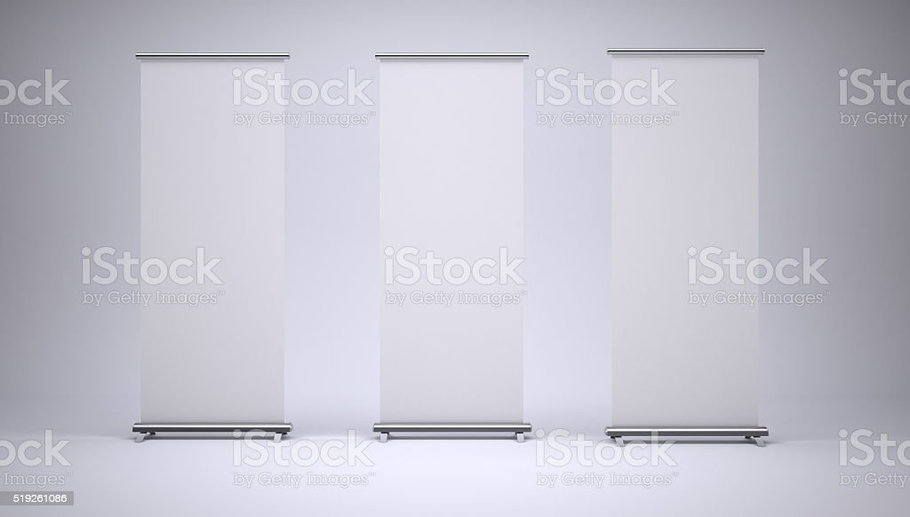 Roll up banners with paper canvas texture stock photo