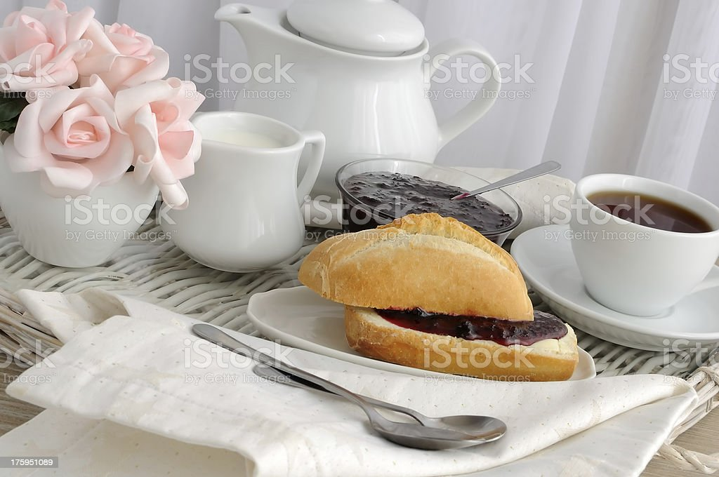 Roll with butter and jam royalty-free stock photo