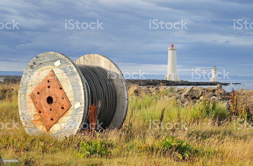 Roll with cable near the sea in Iceland stock photo