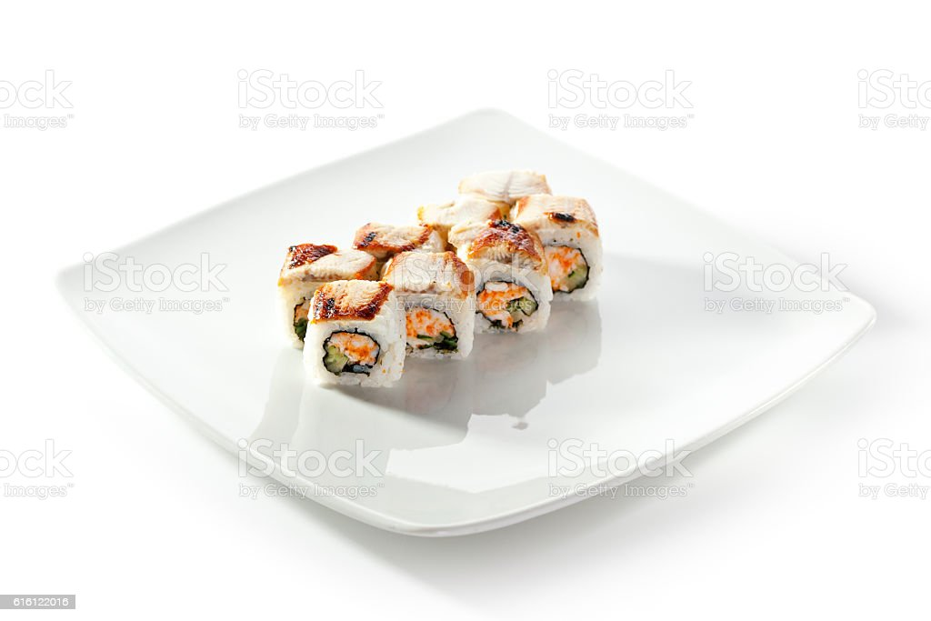 Roll with Crab Meat stock photo